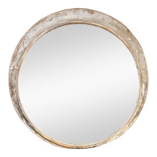Large Round Train Station Mirror For Sale