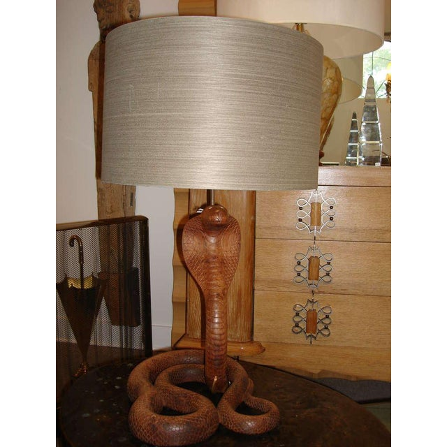 Whimsical Carved Wood King Cobra Table Lamp - Image 2 of 6