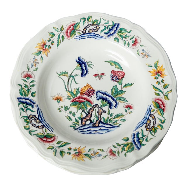Madcap Cottage Chinoiserie Floral Soup Bowls, S/4 For Sale