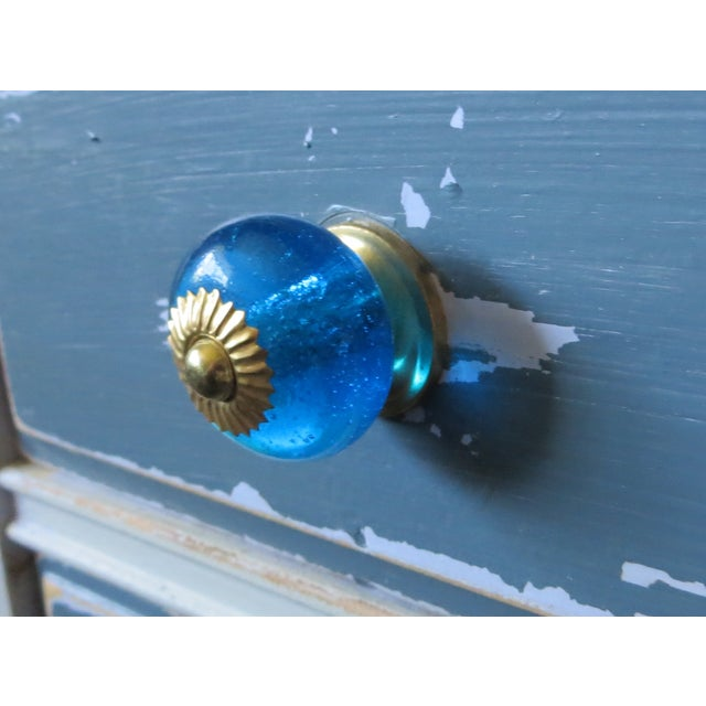 Blue Glass Round Knobs - Set of 6 - Image 3 of 3