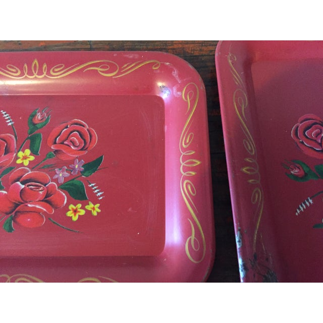 Red Rose Tole Trays - Set of 11 - Image 6 of 7