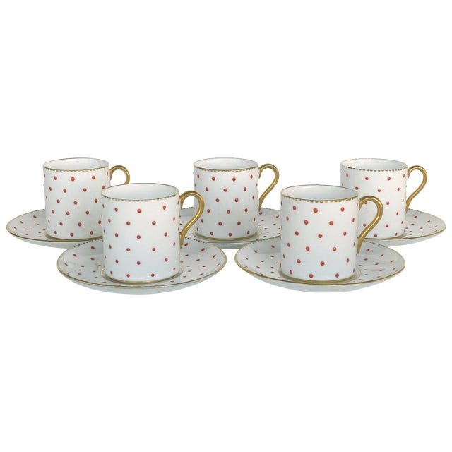 Shelley England Bone China Enameled and Gilt Demitasse Cups and Saucers - 10 Pc. Set For Sale