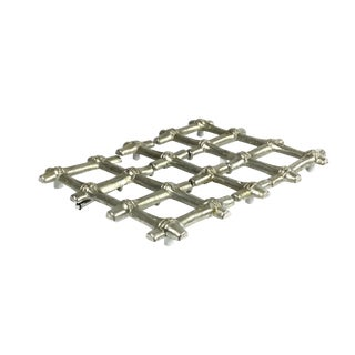 Mid-Century Faux Bamboo Large Extending Silver Plated Trivet For Sale