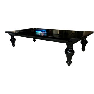 A&x Manor Black Crocodile & Glass Coffee Table For Sale