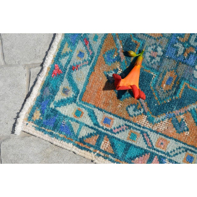 """Hand Knotted Oushak Rug. Faded Oushak Small Rug - 1' 8"""" X 3' 1"""" For Sale - Image 4 of 6"""