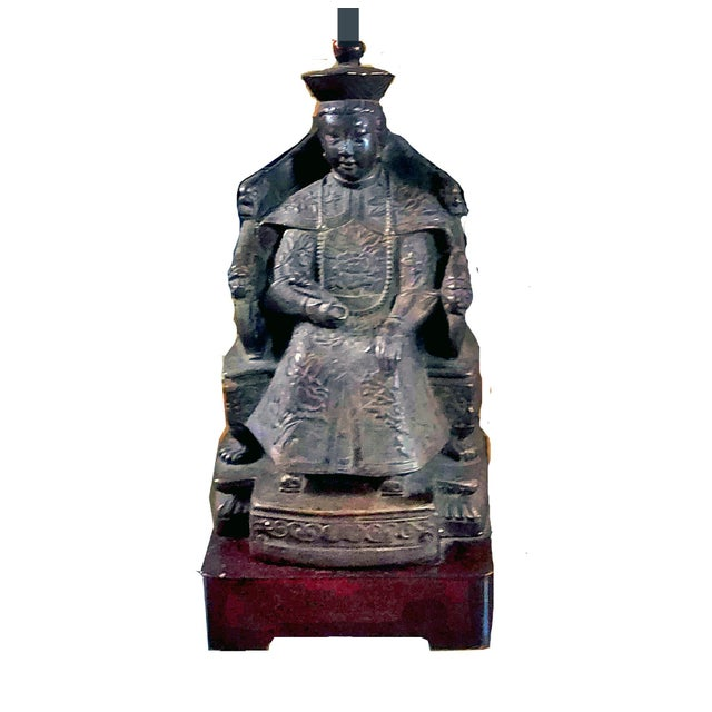 Figural cast bronze statue depicting the Empress of China, Wu Zetian (also known as Empress Consort Wu). She is known to...