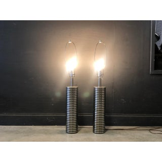 Pair of Modernist Chrome Laurel Lamps Preview