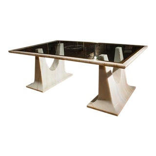 Italian Marble and Glass Dining Table For Sale