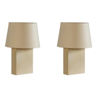 'Bloc' Parchment Table Lamp by Design Frères - a Pair For Sale