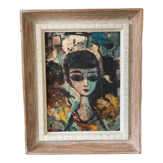 Vintage Mid-Century Abstract Expressionist Portrait Painting For Sale
