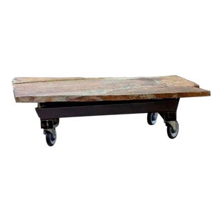 Quartzite Stone Table on Wheels For Sale