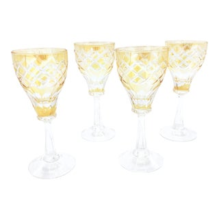 Vintage Set of 4 Stunning Hand Crafted Golden Yellow Crystal Cut Mini Goblets / Aperitif Cordial Glasses. For Sale
