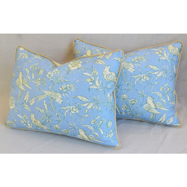 """Blue Scalamandre Aviary Linen & Velvet Feather/Down Pillows 25"""" X 18"""" - Pair For Sale - Image 8 of 13"""