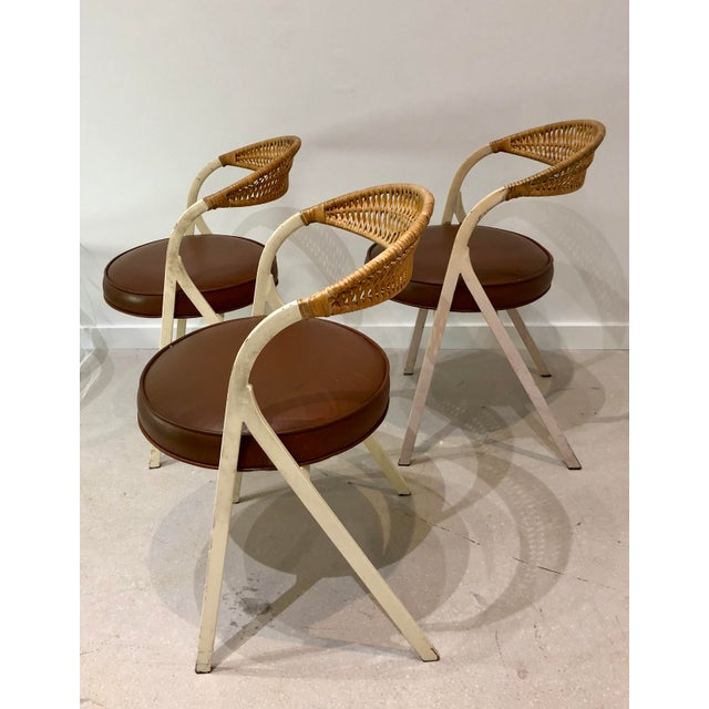 Arthur Umanoff 1960s Vintage Arthur Umanoff for Shaver Howard Painted Wrought Iron and Rattan Dining Chairs- Set of 3 For Sale - Image 4 of 13