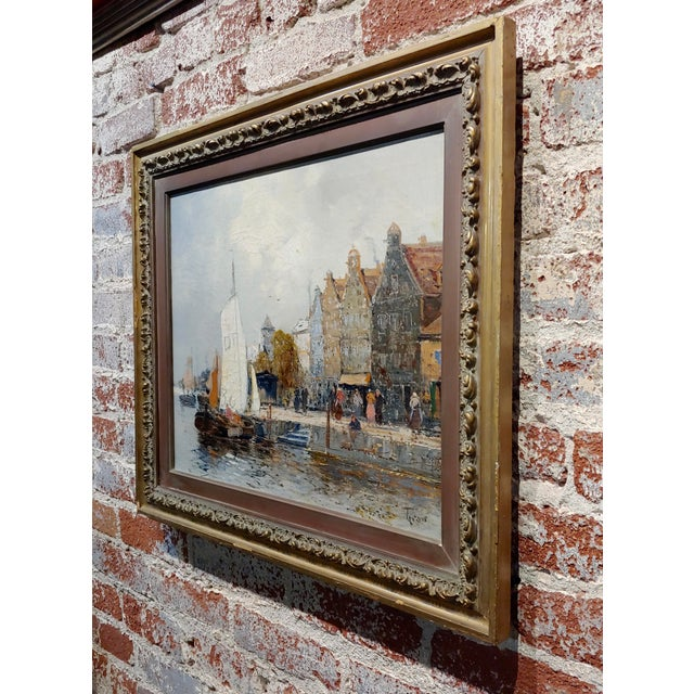 Old Amsterdam With Boats - 19th Century Dutch Impressionist Oil Painting For Sale - Image 9 of 11