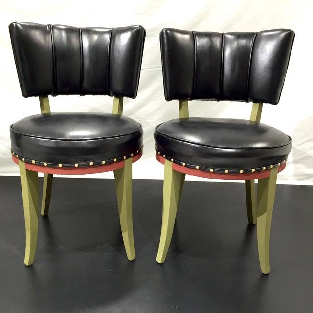 Vintage Tribal Vinyl Side Chairs - Pair - Image 5 of 7