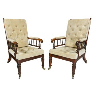 Pair of Late Regency Rosewood Armchairs For Sale