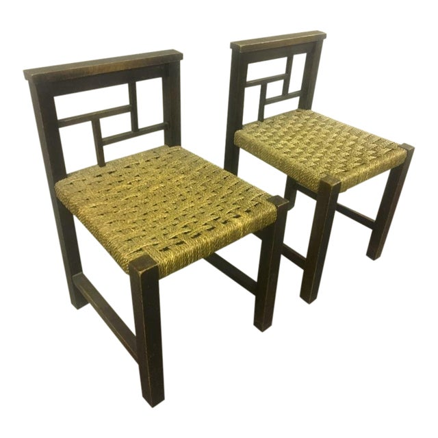 Francis Jourdain Modernist Bauhaus Style Pair of Oak and Rope Chairs For Sale
