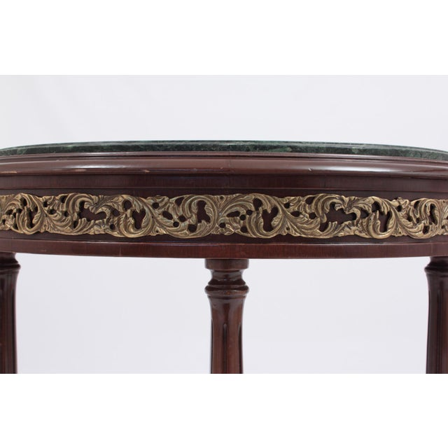 1990s 1990s Vintage Green Marble Oval Accent Table For Sale - Image 5 of 8