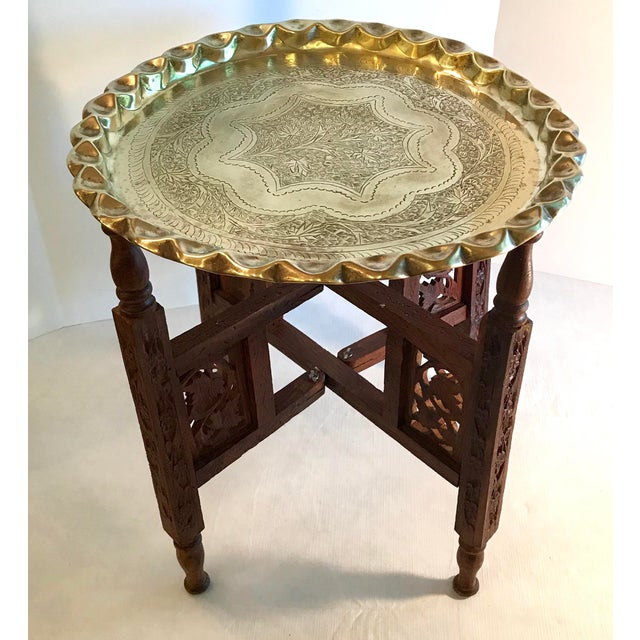 Campaign 20th Century Campaign Carved Wood and Brass Tray Top Table For Sale - Image 3 of 9