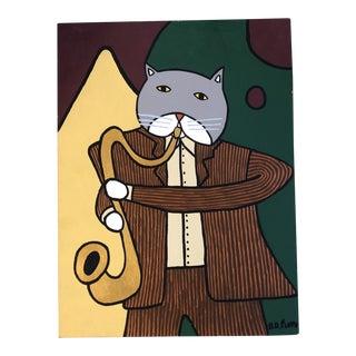 "Contemporary Folk Artist B.D.Floyd ""Cat With Sacks "" Original Painting For Sale"