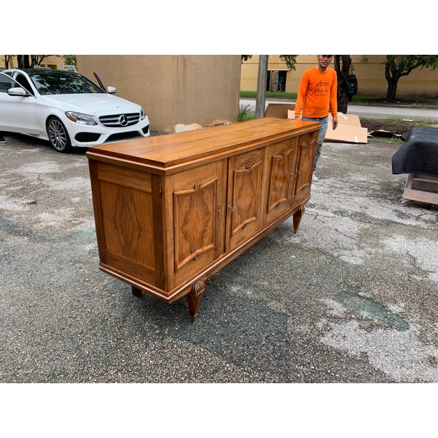 Metal 1940s French Solid Walnut Sideboard For Sale - Image 7 of 13