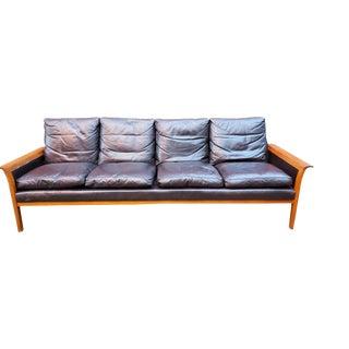 1960s Vintage Knut Sæter Teak and Leather Sofa For Sale