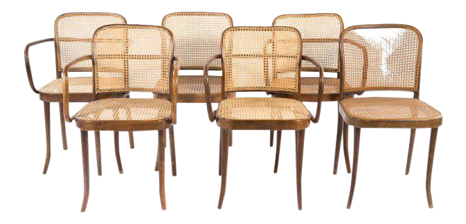 bentwood dining chair. Josef Hoffman For Thonet Caned Bentwood Dining Chairs, Prague - Set Of 6 Chair
