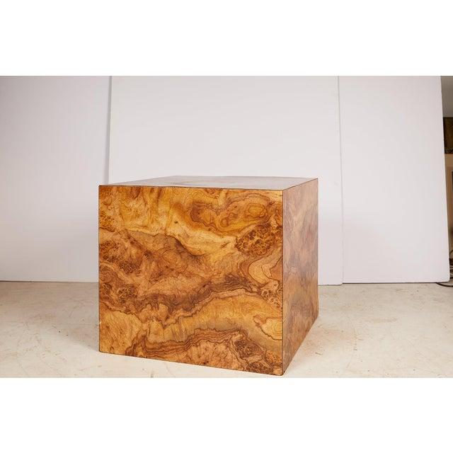 Milo Baughman Midcentury Burled Wood Laminate Cube For Sale - Image 4 of 13