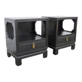 Hollywood Regency Ebony Pair of Nightstands Side End Tables by Davis For Sale