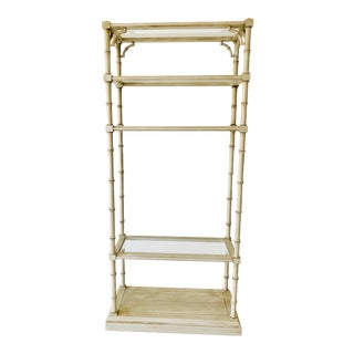 Vintage Chinoiserie Faux Bamboo Etagere For Sale