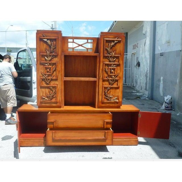 50's Hollywood Regency James Mont Coromandel Red Cabinet For Sale - Image 9 of 11