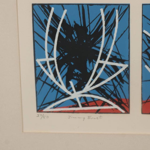 """Jimmy Ernst untitled, 1969. Edition 27 of 50. 23.25"""" H x 19.75"""" W. Screenprint in colors depicting a series of abstract..."""