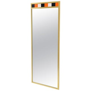 Tall Rectangular Brass and Colored Tiles Frame Wall Hanging Mirror For Sale