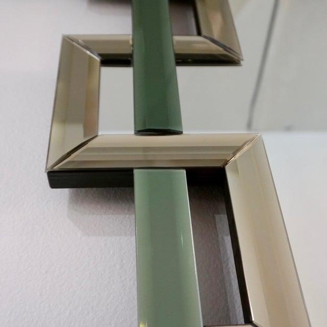 Contemporary Italian Geometric Murano Glass Mirror With Aqua Green Ribbon For Sale - Image 10 of 13