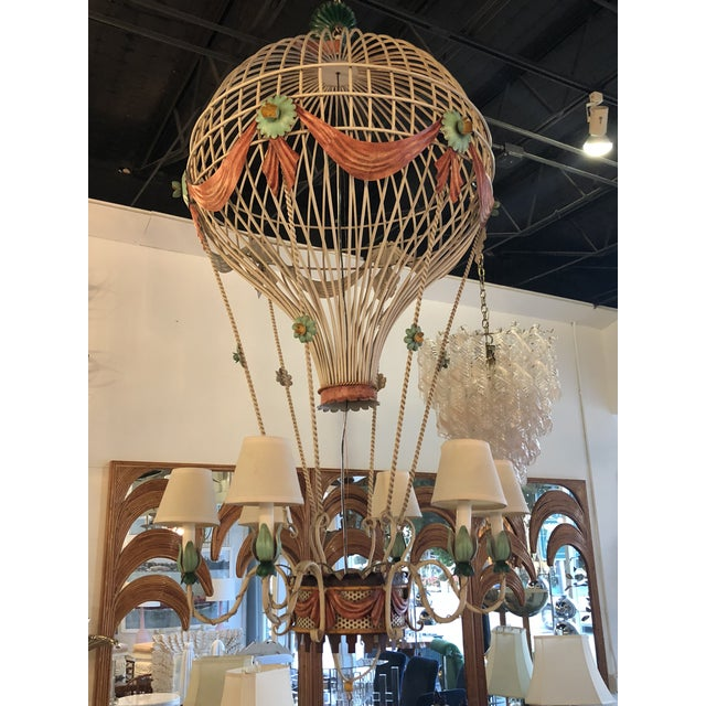 Vintage Italian Tole Metal Hot Air Balloon Chandelier For Sale - Image 12 of 13