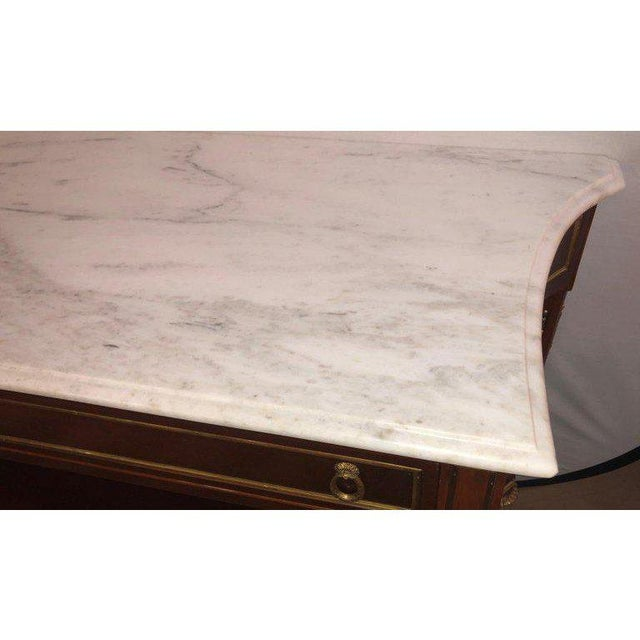 White Pair Marble Top Russian Neoclassical Consoles W Concave Sides & Bronze Mounts For Sale - Image 8 of 12
