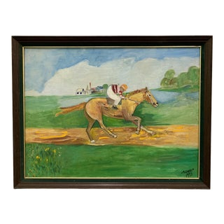 1970s Vintage Horse Race Oil Painting For Sale