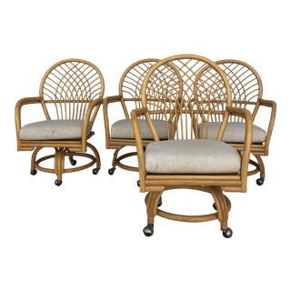 Mid Century Rattan Dining Chair With Wheels For Sale