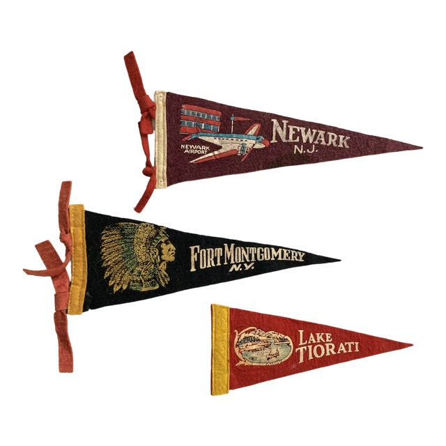 Vintage New York & New Jersey Pennant Flags - Set of 3 For Sale
