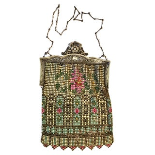 1920's Vintage Whiting & Davis Art Deco Metal Mesh Mandolin Flapper Evening Bag For Sale