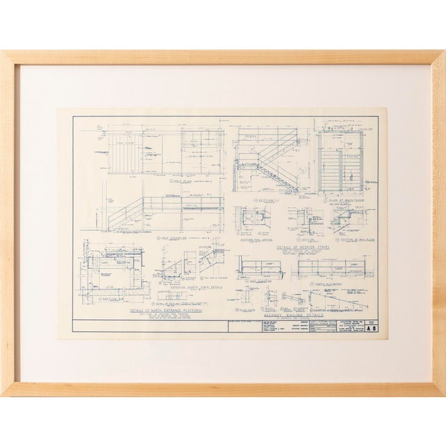 Blueprint from the office of Ludwig Mies van der Rohe, Chicago 1954 Crown Hall, New Technological Center at Illinois...