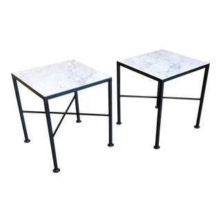 Carrara Marble Top X Base Side Tables - a Pair For Sale