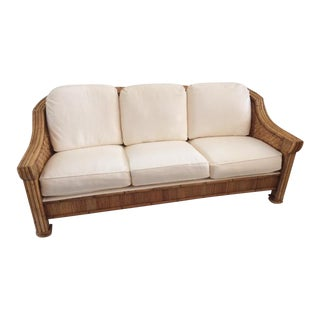 1980s Vintage Boho Chic Pencil Reed Sofa For Sale