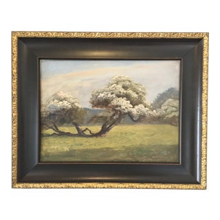 Vintage Custom Framed Cherry Blossom Tree Oil on Canvas By: Finn Wennerwald For Sale