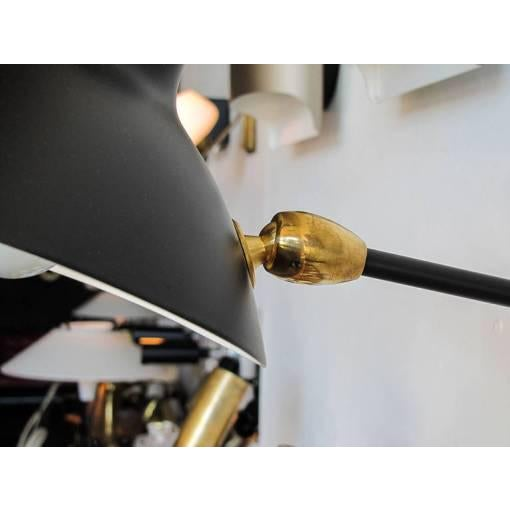 Brass Serge Mouille Adjustable Black Metal Wall Light For Sale - Image 7 of 10