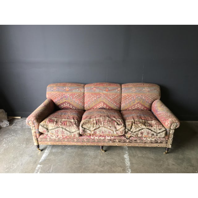 Aesthetic Movement George Smith Roll Arm Kilim Sofa For Sale - Image 3 of 8