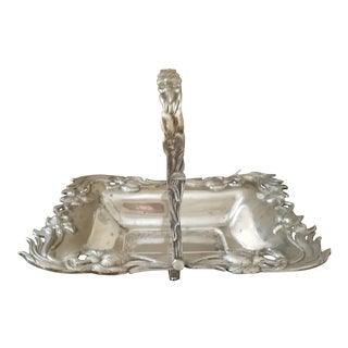 Antique Silverplated Biscuit Basket For Sale