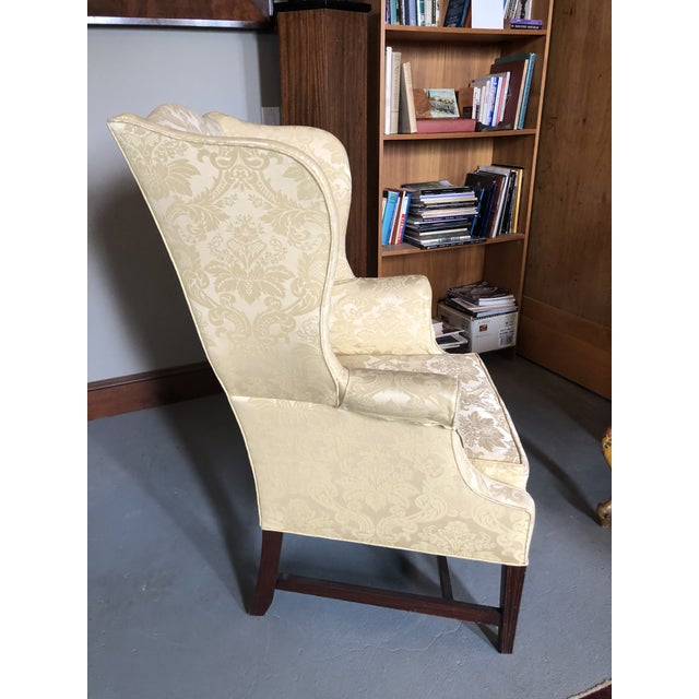 American Federal Style Yellow Jacquard Wingback Chair With Down Cushion For Sale - Image 4 of 13