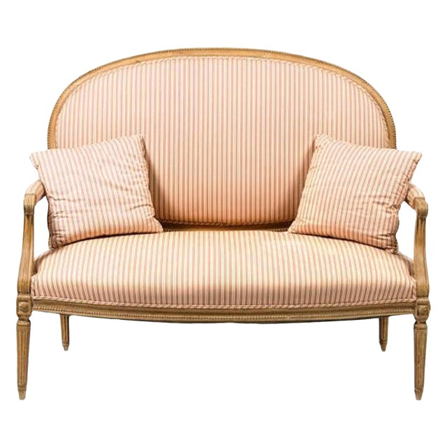 Louis XVI Style Limed Wood Settee or Loveseat, Late 19th or Early 20th Century For Sale